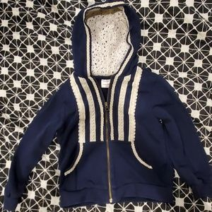 Girls Hanna andersson fancy embroider lace hoodie